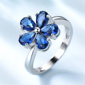 Flower Sapphire Engagement Silver Bridal Ring
